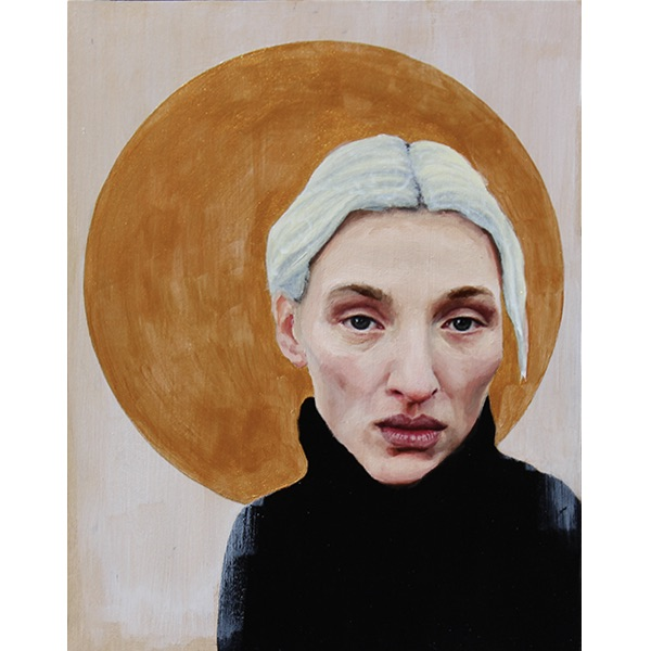 Oil painting of young woman with golden halo