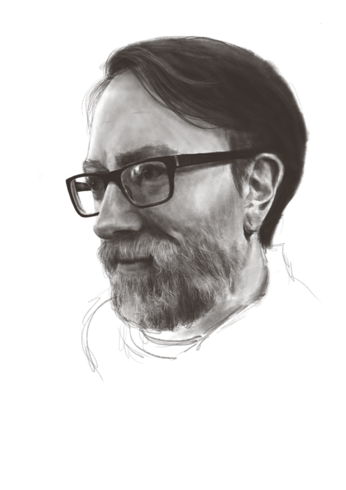 Monochrome drawing of a man in glasses